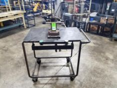 Industrial work table with pneumatic clamp fixture. 42x27x49. LxWxH.