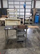 Industrial work table. 48x32x83. LxWxH. Aero-Motive 1CF-LR Tool Balancer attachment.