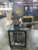 Turnkey Automation INC pneumatic press fixture. BTM style press with heavy steel table.