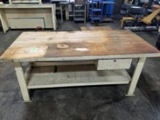 Industrial work table with maple wood tabletop. 72x41x34. LxWxH.