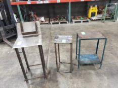Qty 3 - Industrial work tables. One angled with shelf. 18x29x42, 13x13x34, 20x15x31. LxWxH.