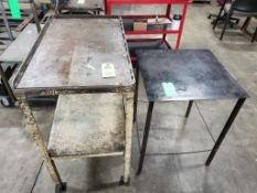Qty 2 - Industrial work tables. 39x21x38, 24x24x30. LxWxH.