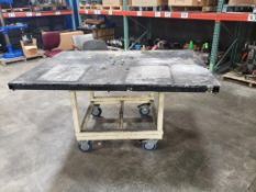 Industrial rolling work table. 72x49x36. LxWxH.