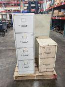 Qty 3 - Office filing cabinets. 15x25x52, 15x25x52, 15x25x29. WxDxH.