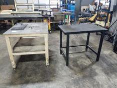 Qty 2 - Industrial work tables. 42x37x38, 43x27x37. LxWxH.