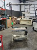 Qty 2 - Industrial work table with overhead light, smaller single level table. 40x21x86, 38x36x35.