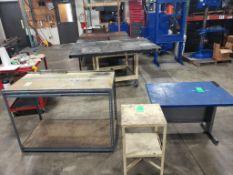 Qty 3 - Industrial work tables. 48x24x38, 14x16x30, 36x26x26. LxWxH.