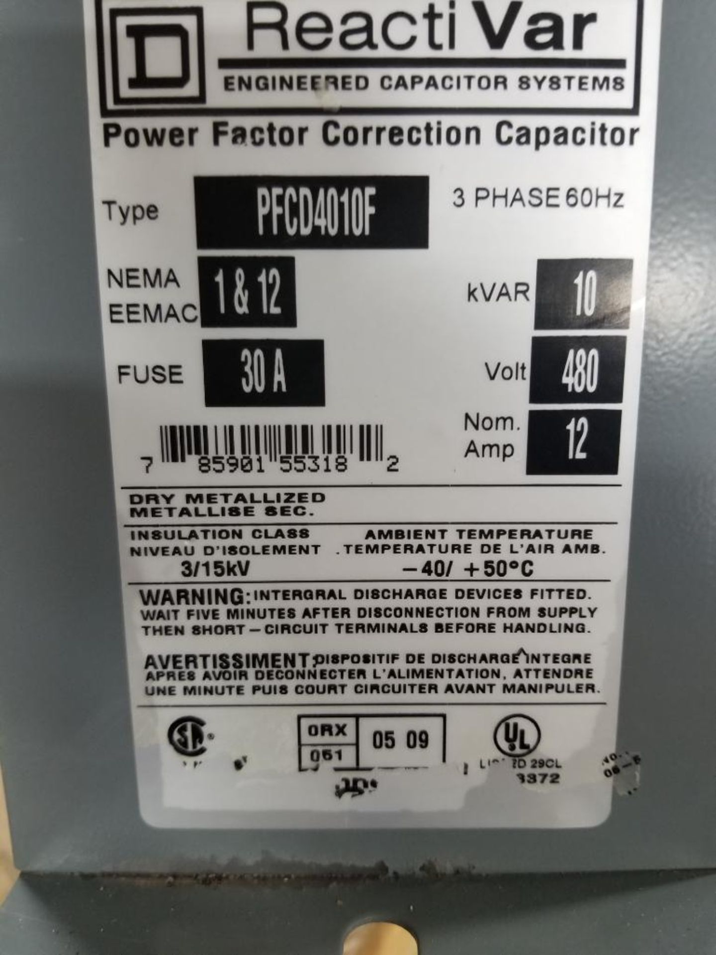 Square-D ReactiVar PFCD4010F 3PH Power factor correction capacitor. - Image 2 of 2