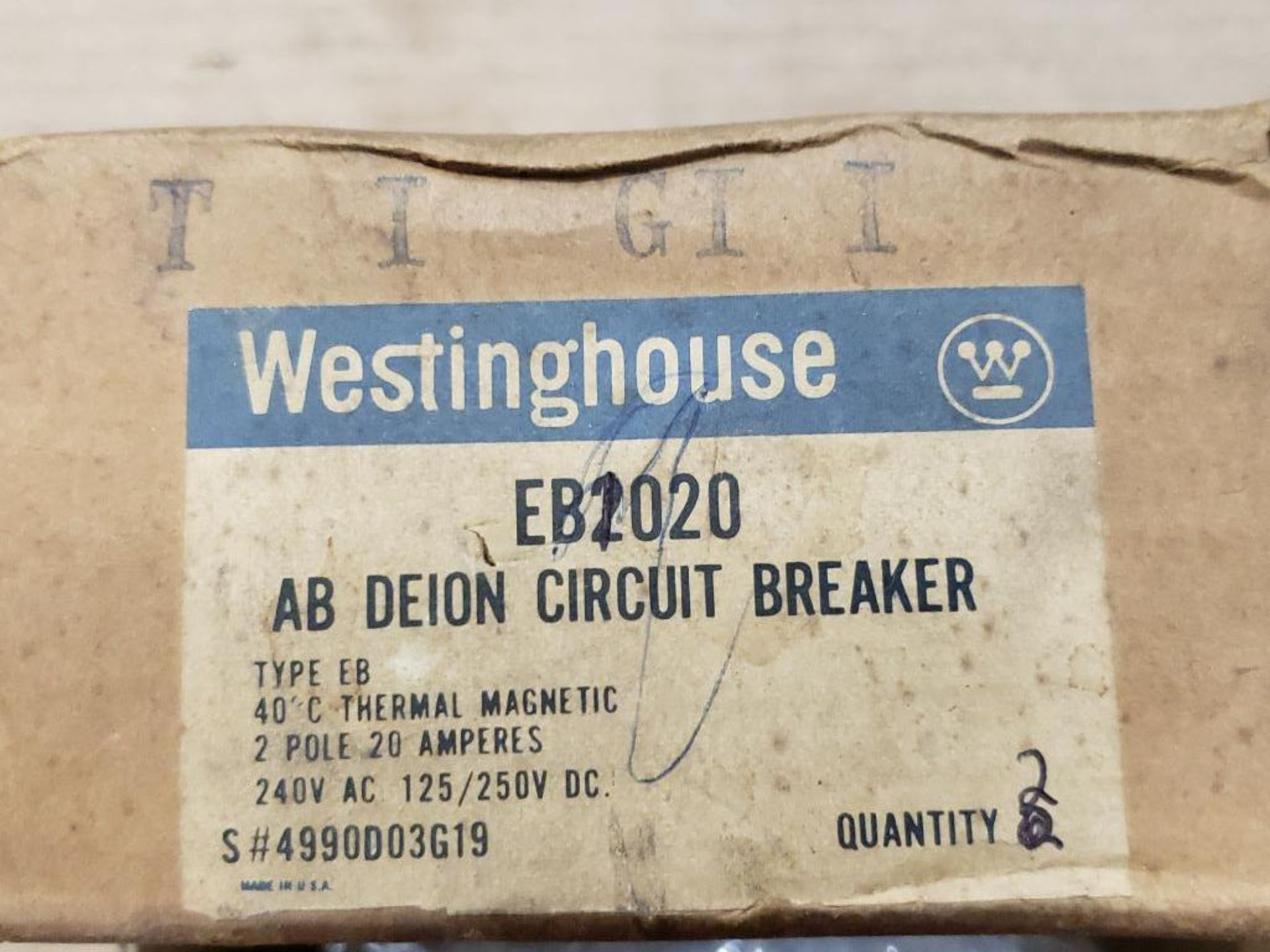 Assorted electrical circuit breakers. Westinghouse, Honeywell R8146A-1005-2. - Image 2 of 6