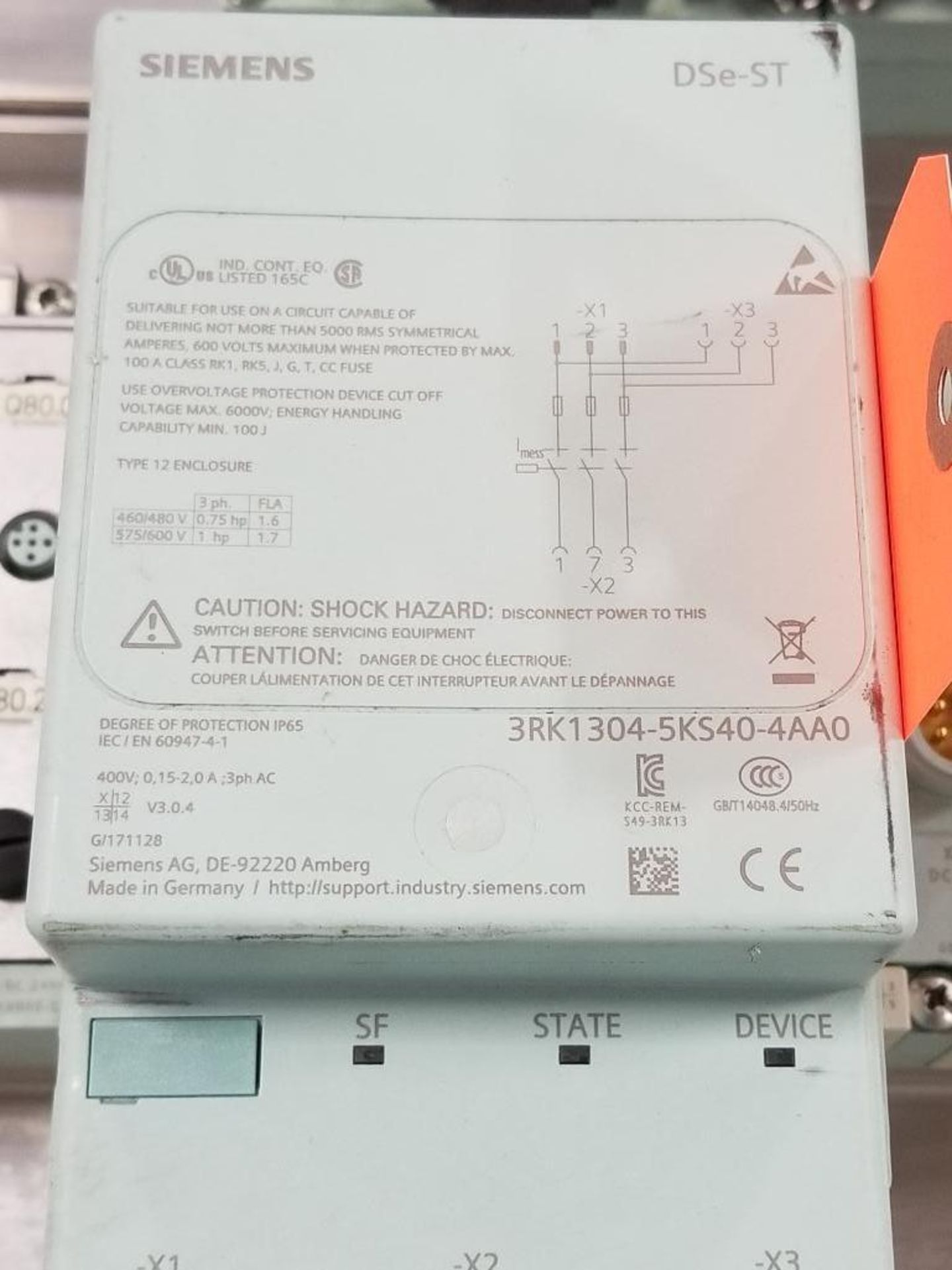 Siemens DSe-ST 3RK1304-5KS40-4AA0 disconnect module with flow control line. - Image 2 of 5