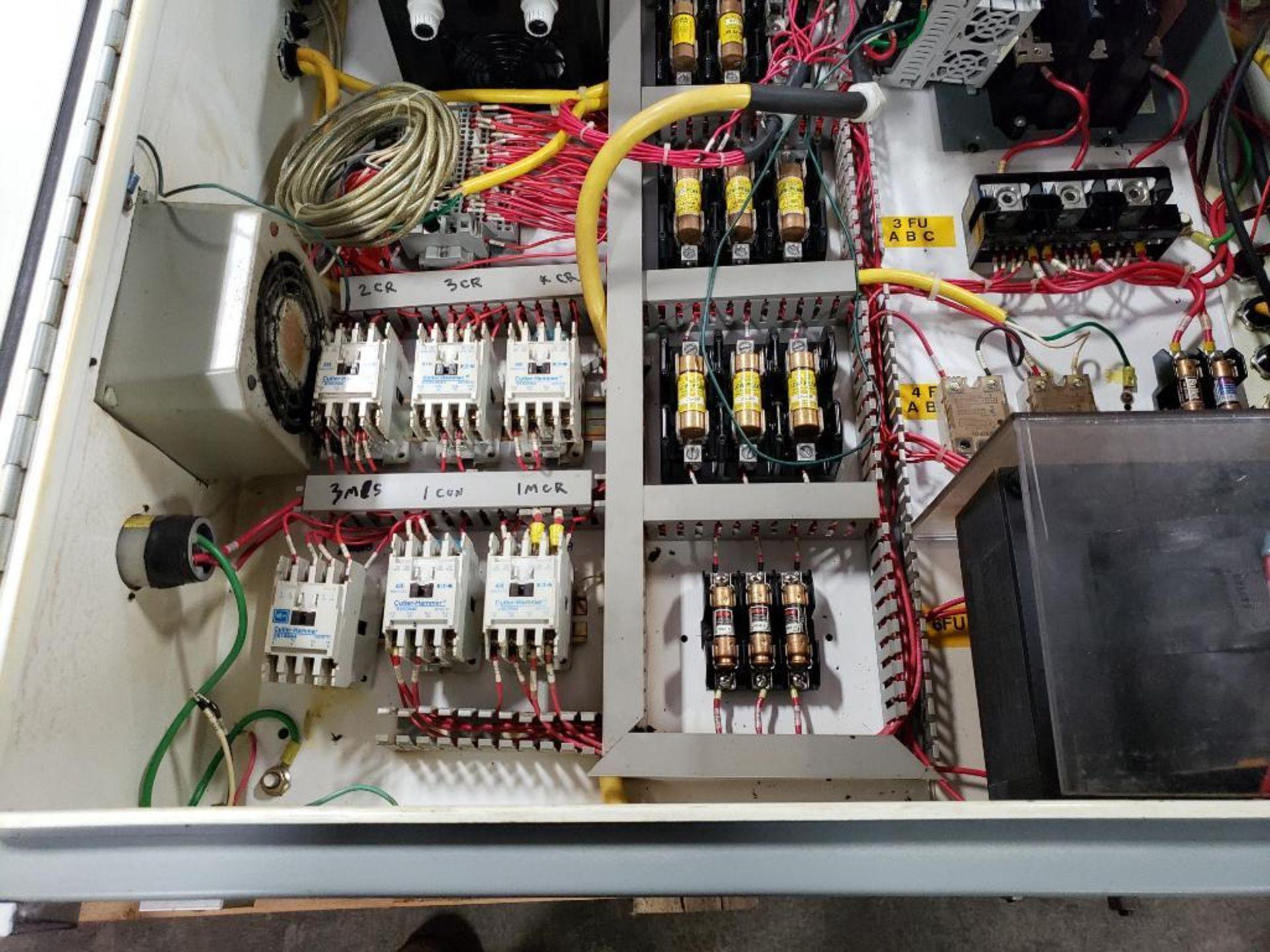 Chiller control cabinet. Hoffman enclosure, Cutler Hammer AF93AG0B007D drive, Allen Bradley drive. - Image 15 of 35