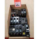 Assorted electrical circuit breakers. GE.