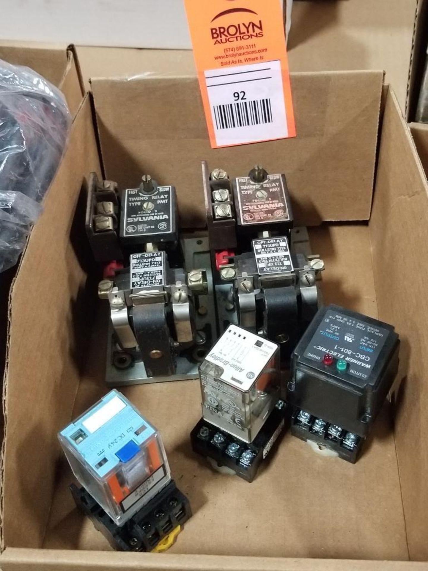 Assorted electrical relays. Sylvania, Warner, Allen Bradley.