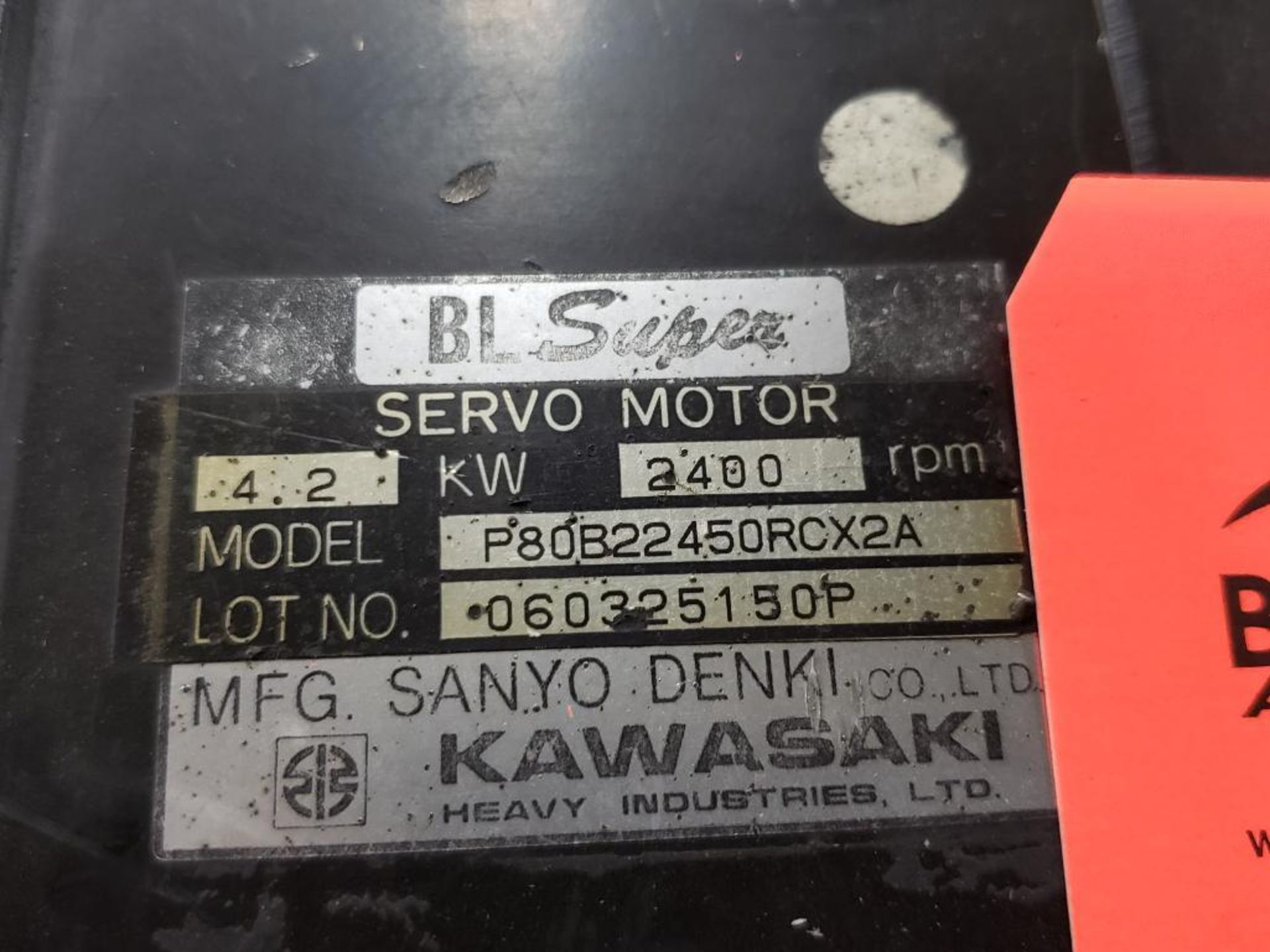4.2kW Kawasaki Servo Motor P80B22450RCX2A. 2400RPM. - Image 3 of 3
