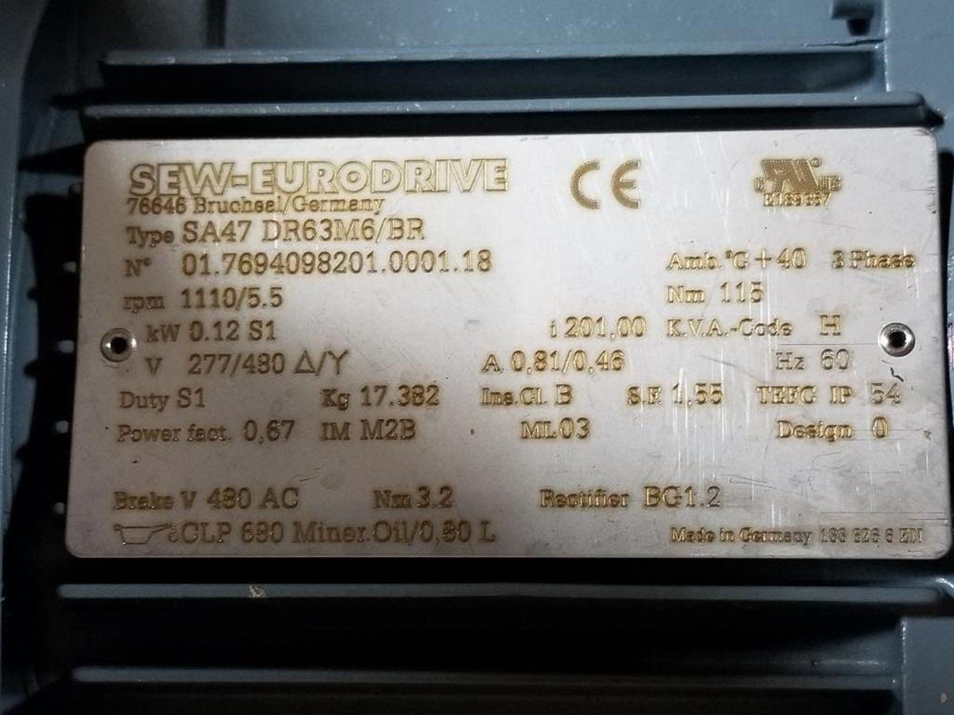 0.12kW Sew-Eurodrive Type-SA47 motor. 01.7694098201.0001.18 277/480V, 1110RPM. - Image 3 of 3