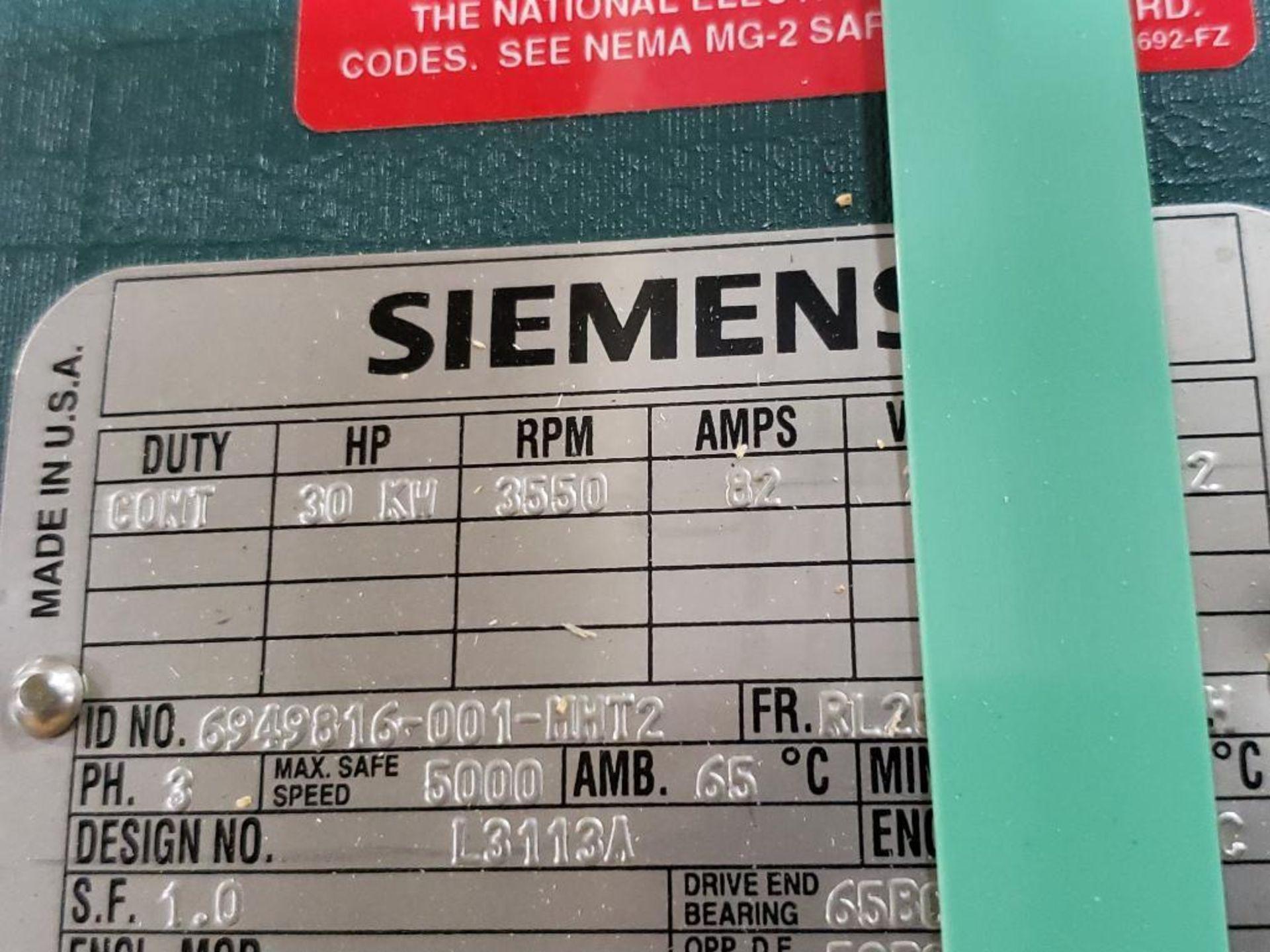 30kW Siemens 3PH Motor. 6949816-001-MHT2. 280V, 3550RM, RL2570Z-Frame. - Image 3 of 7