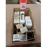Assorted electrical pushbutton, switch, light. GE.