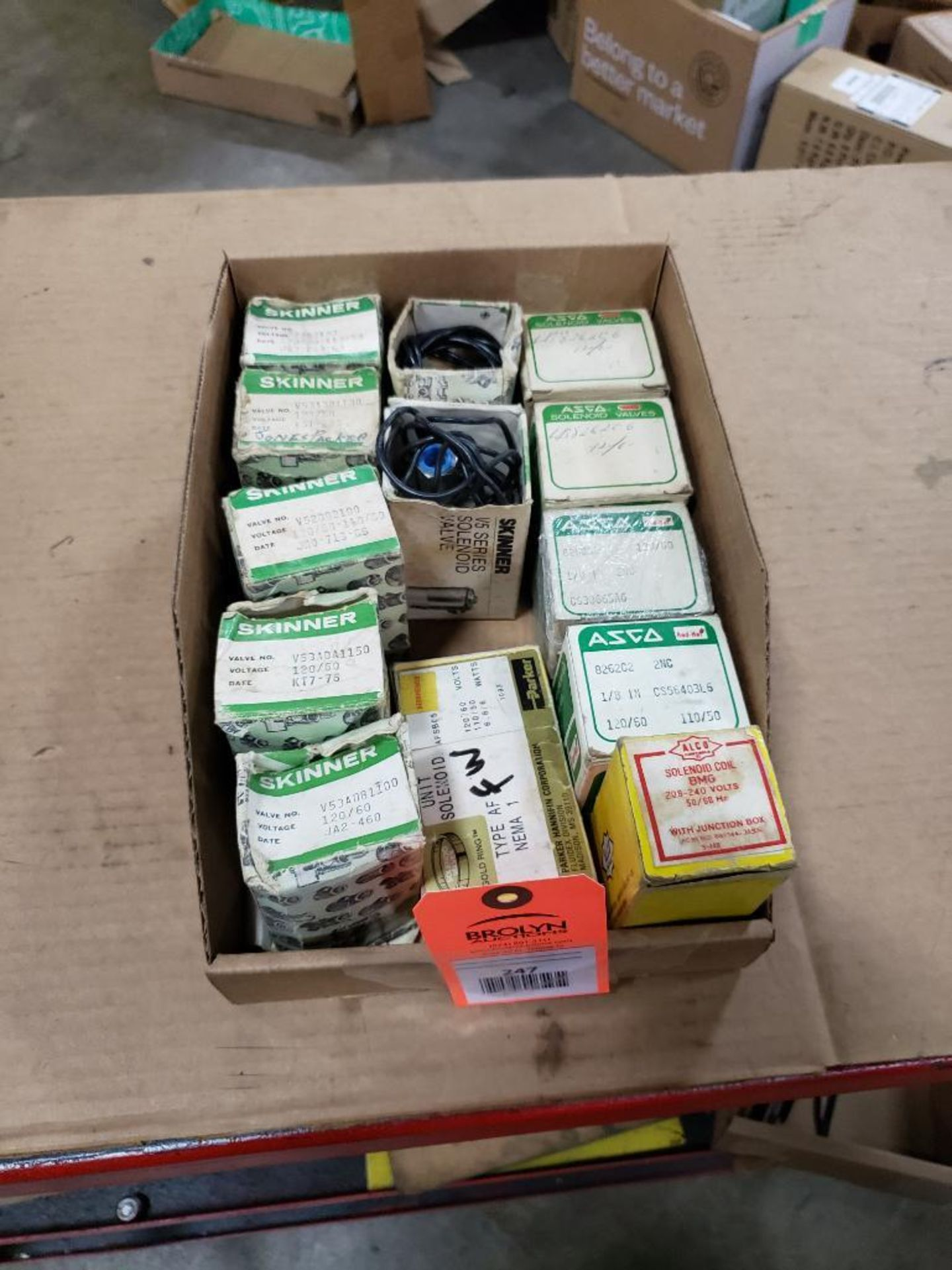 Qty 13 - Assorted Solenoids and coil. Skinner, Asco, Parker.