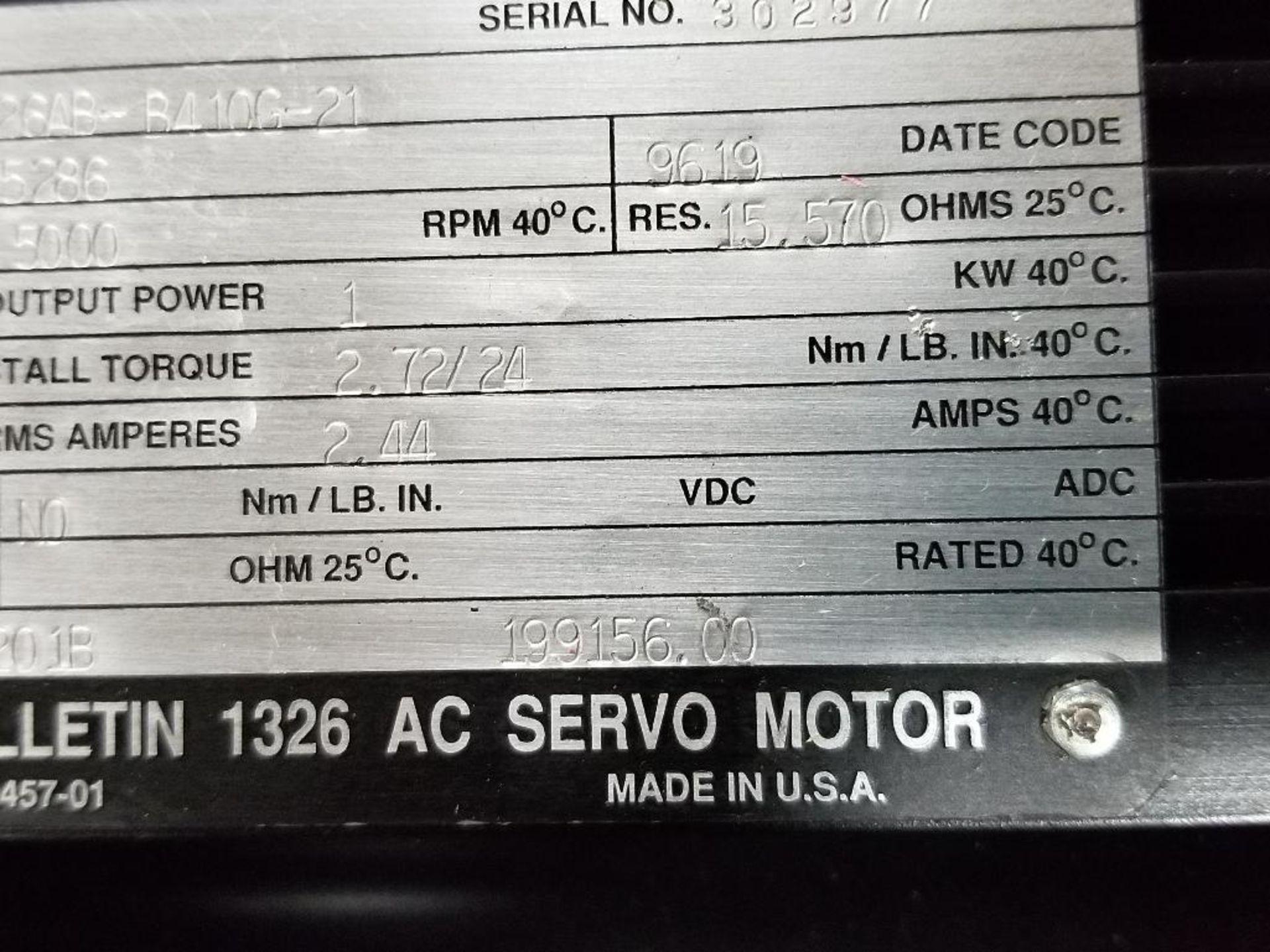 1kW Allen Bradley servo motor. Cat# 1326AB-B410G-21, Part# 155286, 5000RPM. - Image 5 of 6