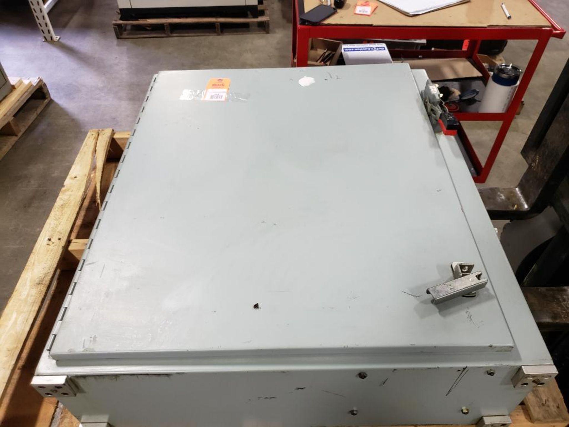 Chiller control cabinet. Hoffman enclosure, Cutler Hammer AF93AG0B007D drive, Allen Bradley drive.