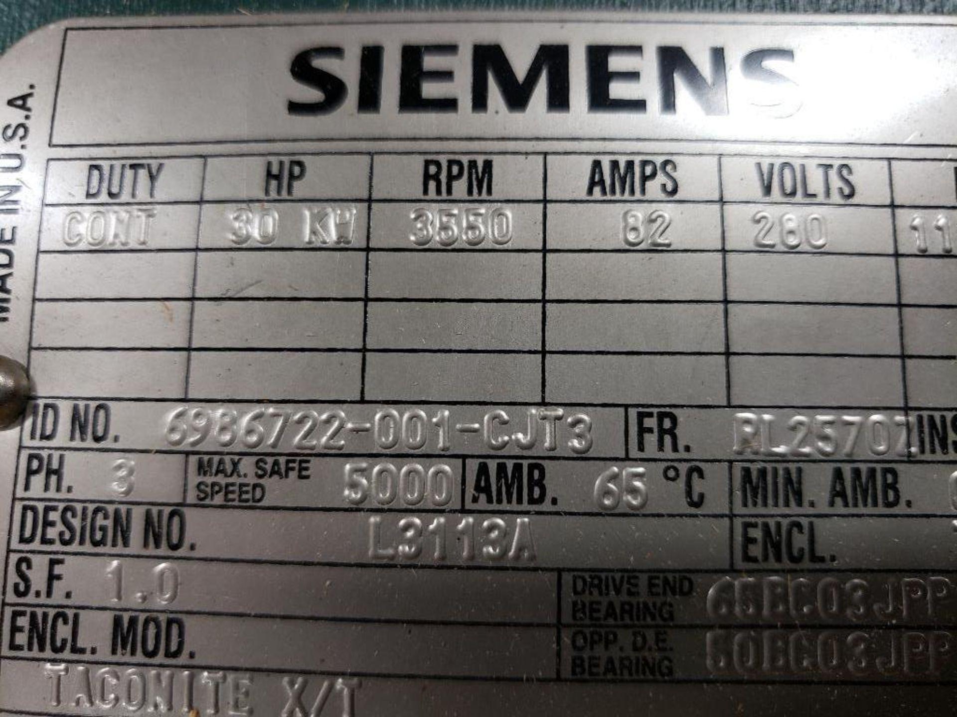 30kW Siemens 3PH Motor. 6986722-001-CJT3. 280V, 3550RM, RL2570Z-Frame. - Image 4 of 10