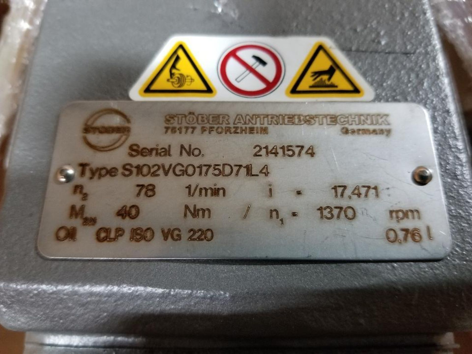 Stober S102VG0175D71L4 gear box. - Image 3 of 5