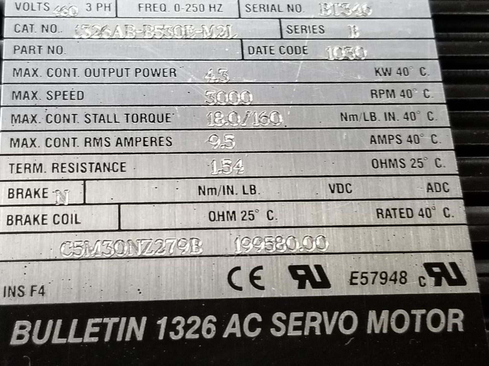 4.3kW Allen Bradley servo motor. 1326AB-B530E-M2L. 3PH, 460V, 3000RPM. - Image 4 of 4