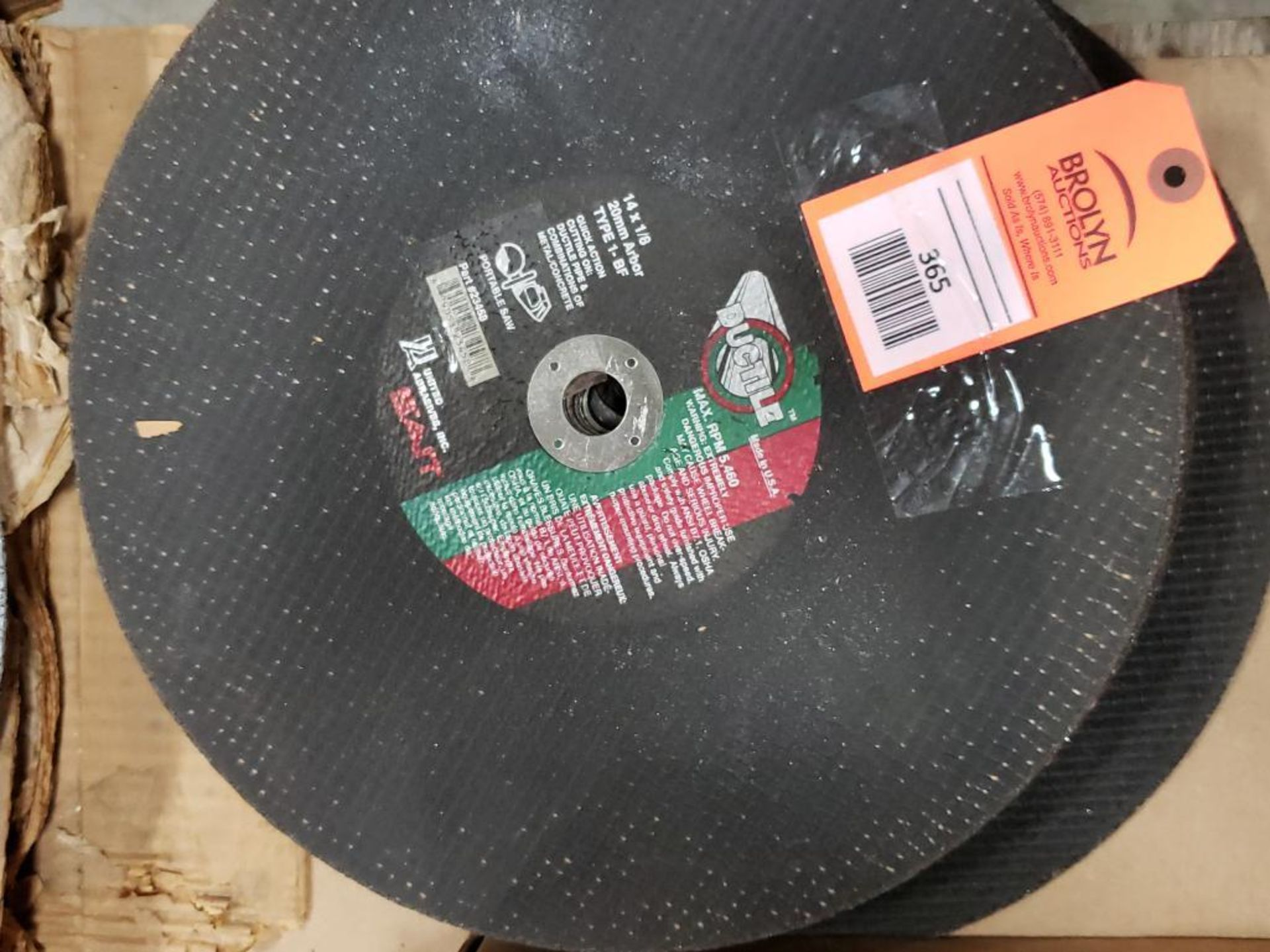 Ductile 14 x 1/8 20mm Arbor type 1-BF Quick Action cutting wheels. 23458.