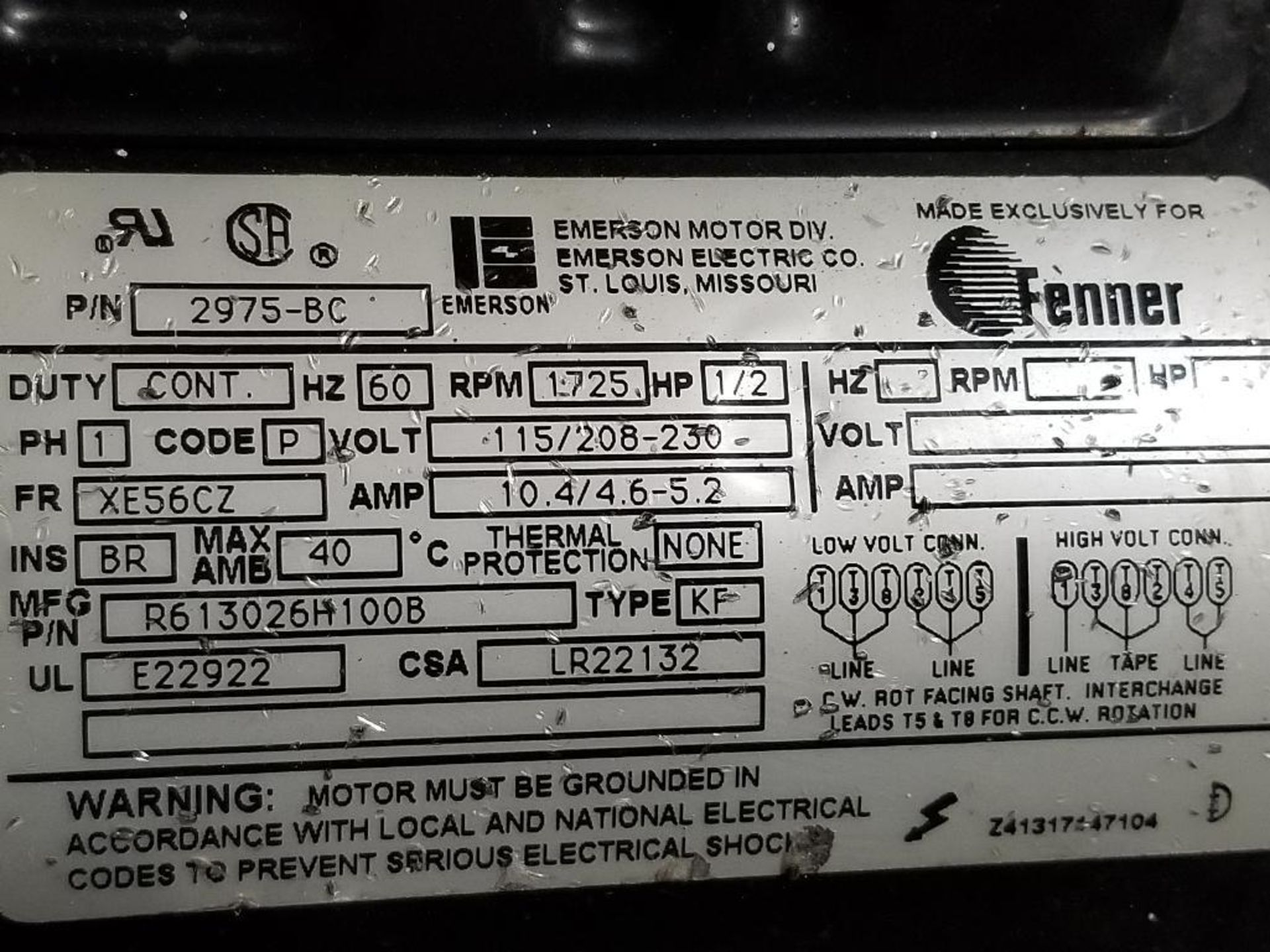 1/2HP Fenner Emerson 2975-BC pump motor. 1PH, 115/208-230V, 1725RPM. XE56CZ-Frame. - Image 5 of 5
