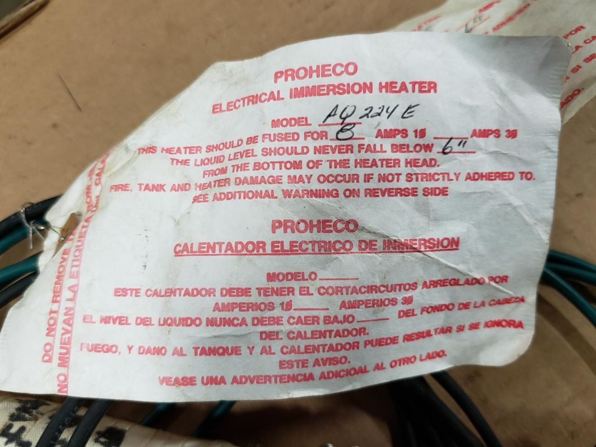 Qty 2 - Proheco AQ224E electrical immersion heater. - Image 3 of 6