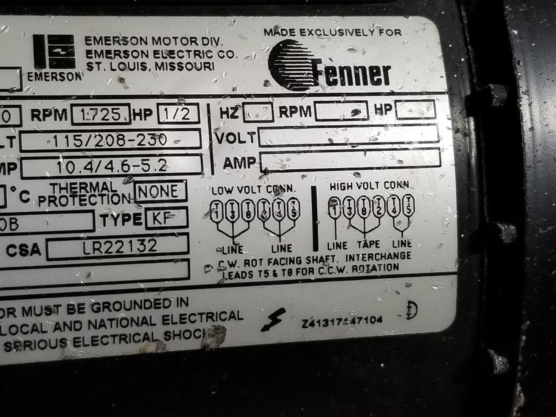 1/2HP Fenner Emerson 2975-BC pump motor. 1PH, 115/208-230V, 1725RPM. XE56CZ-Frame. - Image 4 of 5