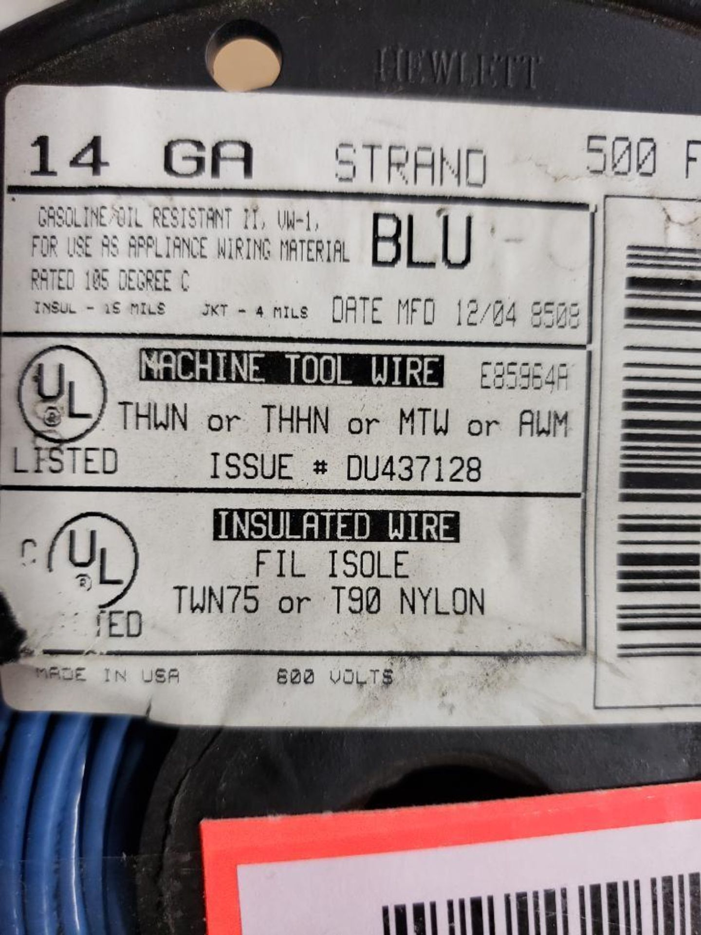 Qty 2 - Spool of Hewlett contractor wire. 14GA-BLUE. - Image 2 of 3