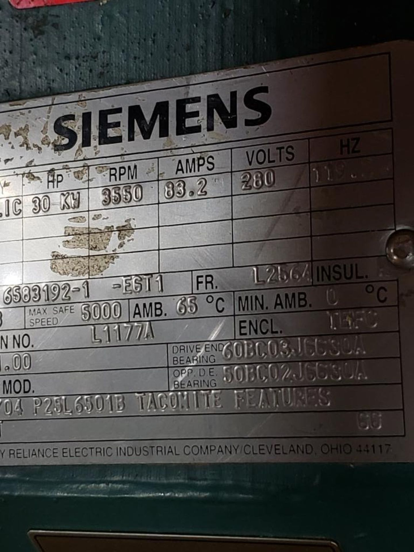 30kW Siemens 3PH Motor. 6583192-1-EGT1. 280V, 3550RM, L2564-Frame. - Image 4 of 7