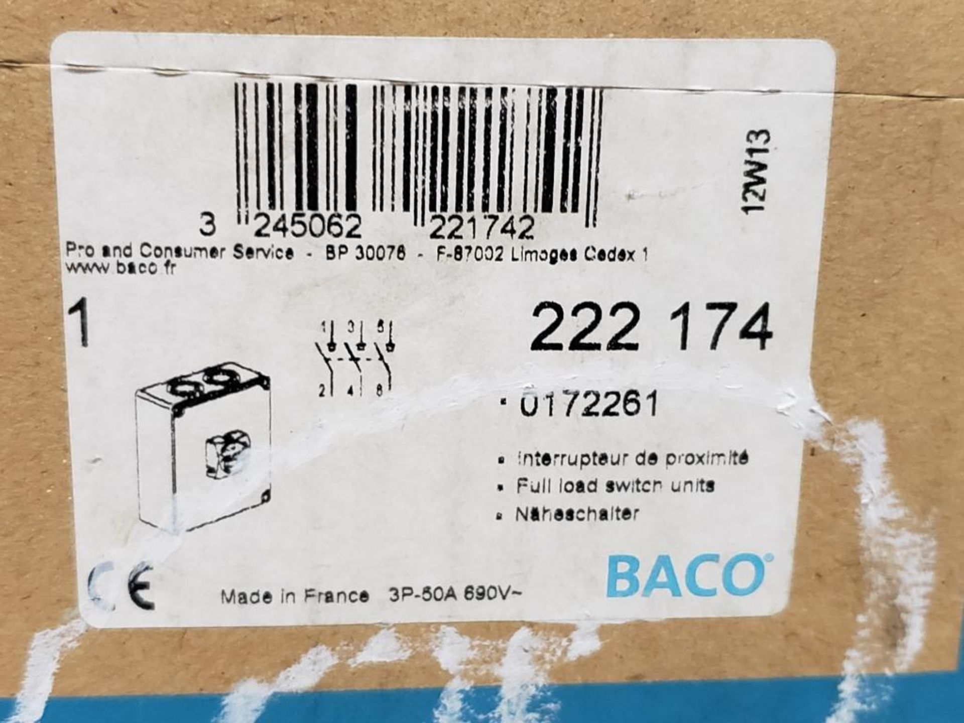 BACO 222-174 full load switch unit, safety on/off switch. - Image 2 of 4