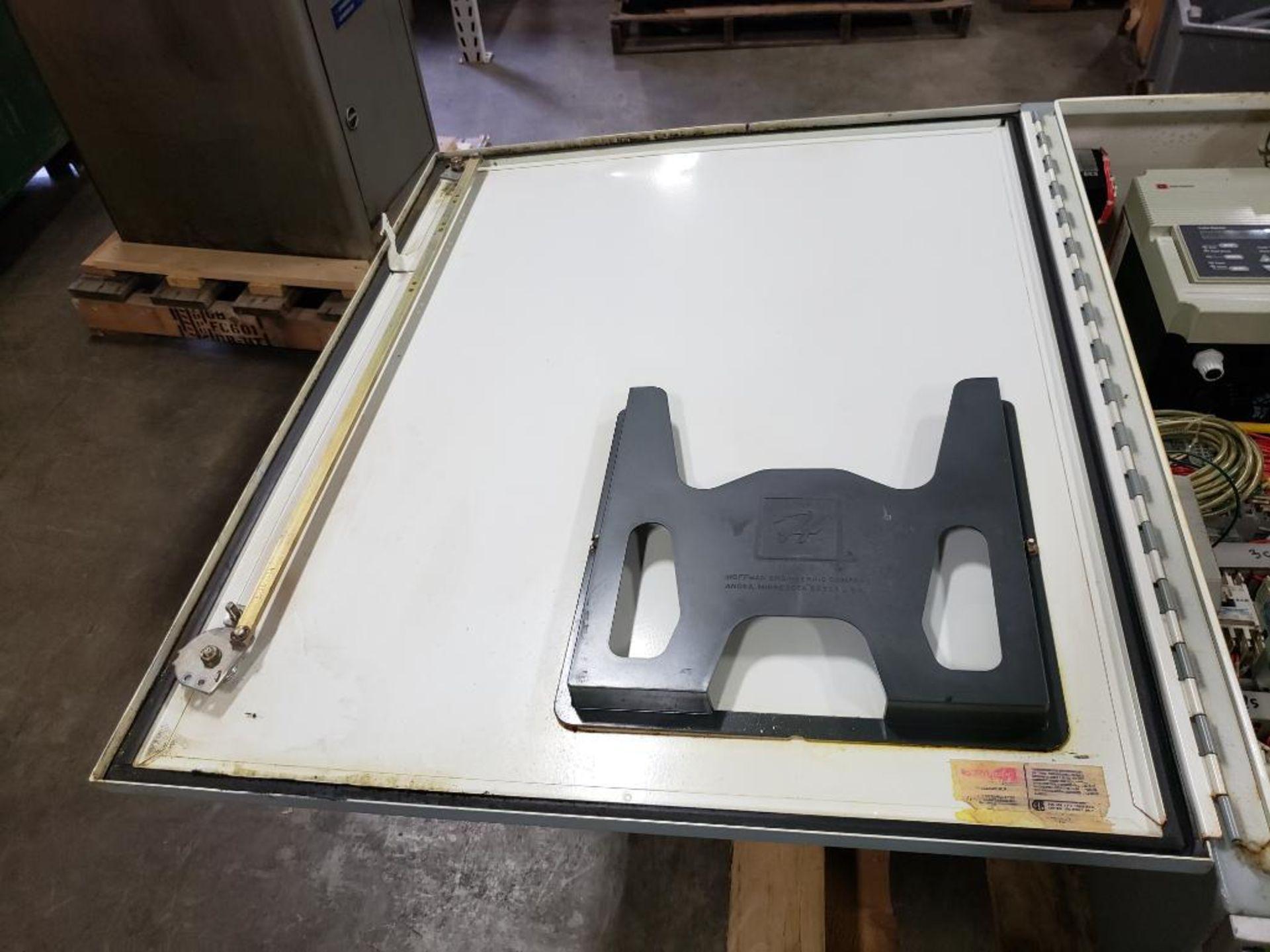Chiller control cabinet. Hoffman enclosure, Cutler Hammer AF93AG0B007D drive, Allen Bradley drive. - Image 12 of 35