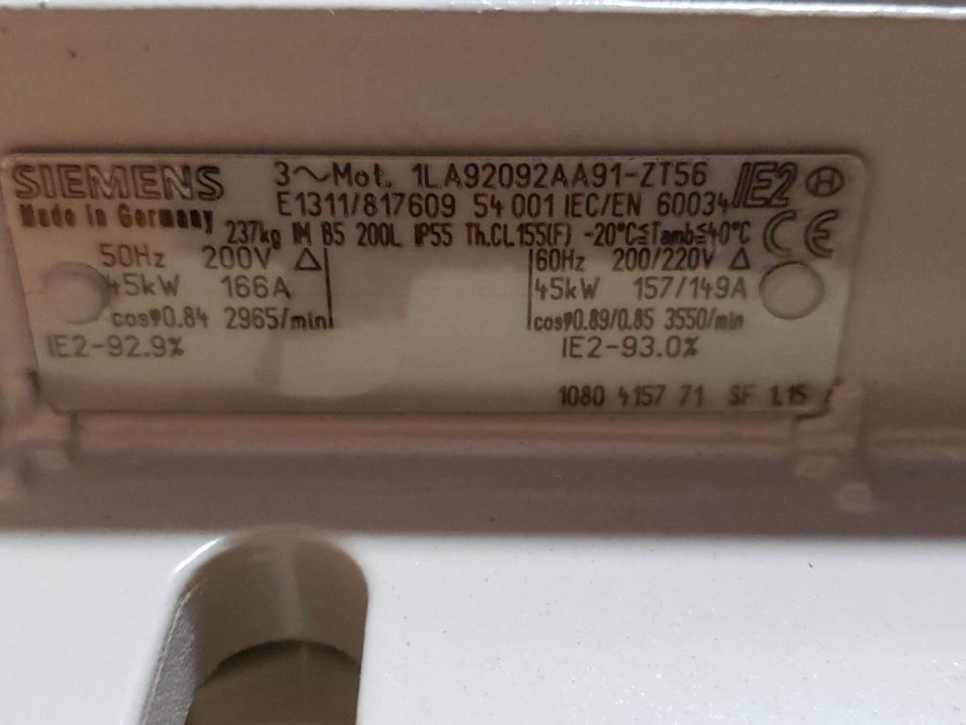 45kW Siemens 3PH motor. 1LA92092AA91-ZT56. 200V, 2965RPM. - Image 5 of 9