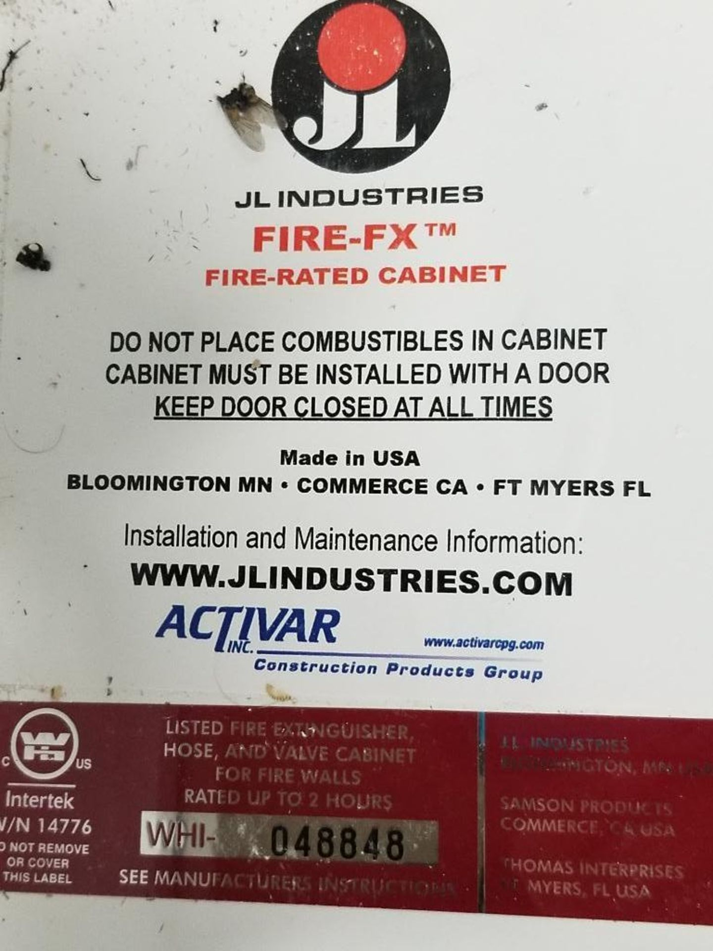 JL Industries Fire-FX cabinet. WHI-048848. - Image 2 of 7