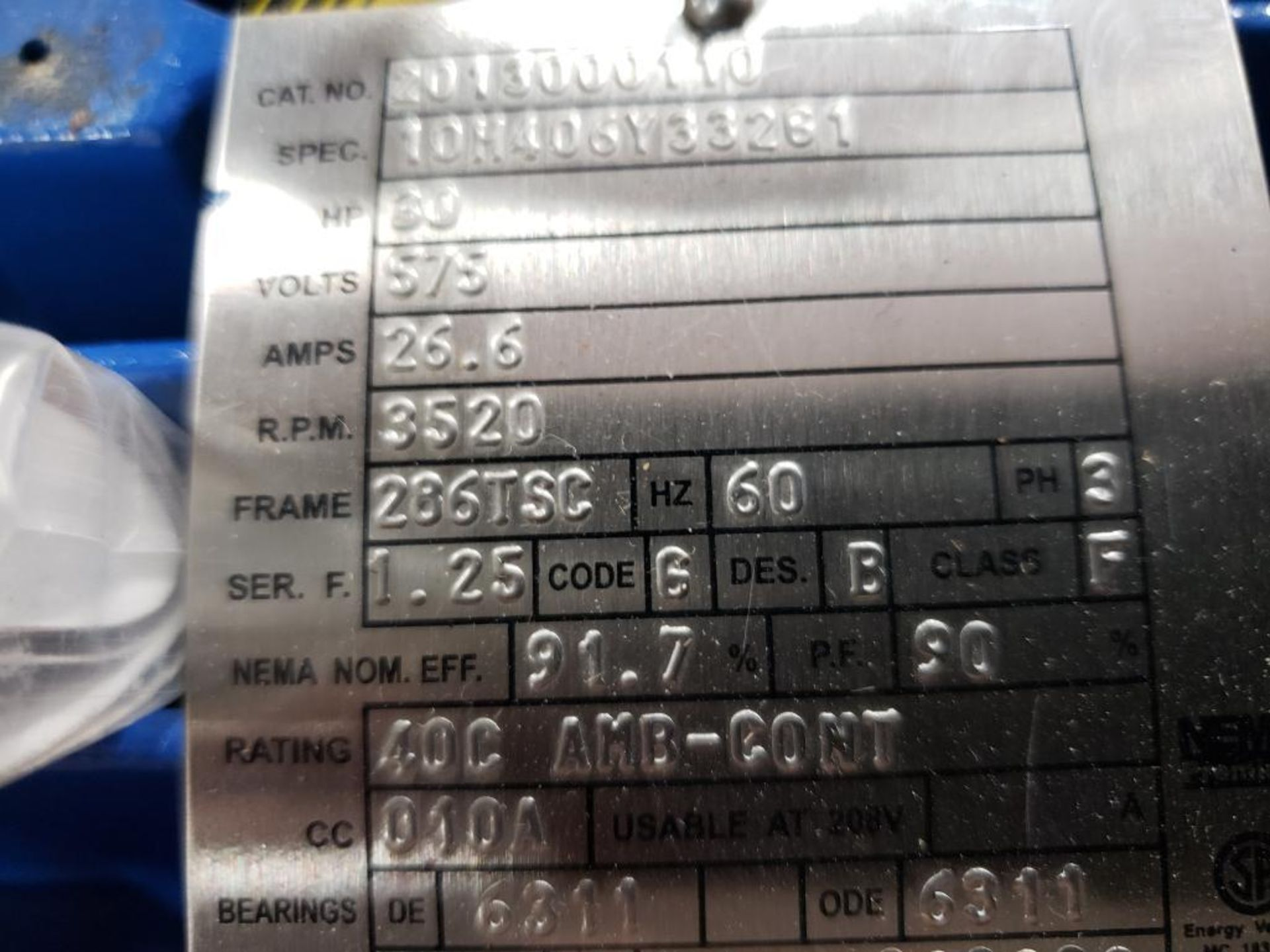 30HP Baldor Reliance 3PH motor. 2013000110. 575V, 3520RPM, 286TSC-Frame. - Image 4 of 6
