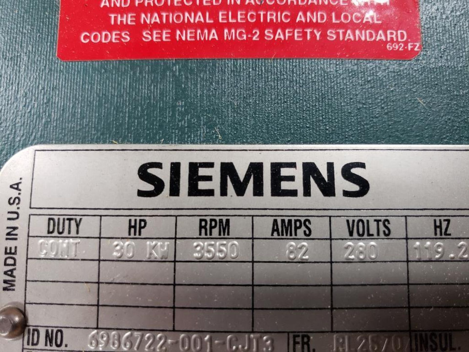 30kW Siemens 3PH Motor. 6986722-001-CJT3. 280V, 3550RM, RL2570Z-Frame. - Image 3 of 10