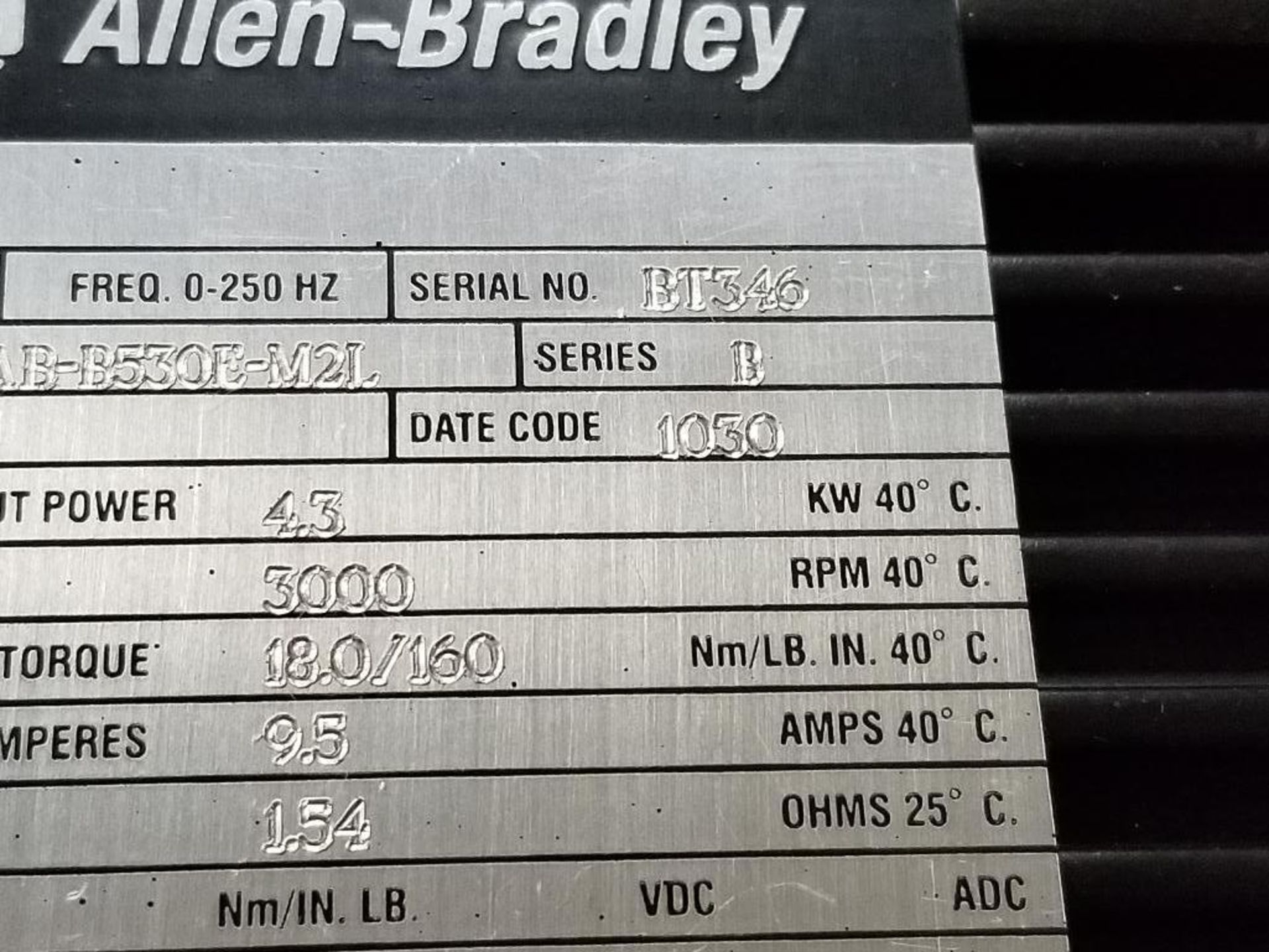 4.3kW Allen Bradley servo motor. 1326AB-B530E-M2L. 3PH, 460V, 3000RPM. - Image 3 of 4