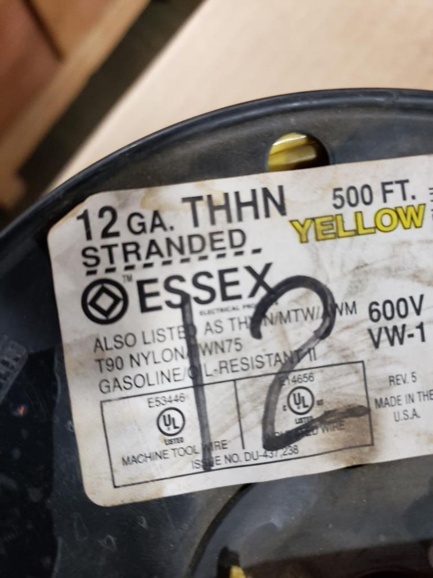 Qty 3 - Spool of ESSEX contractor wire. 12-RED THHN stranded, 10-WHITE. - Image 4 of 6