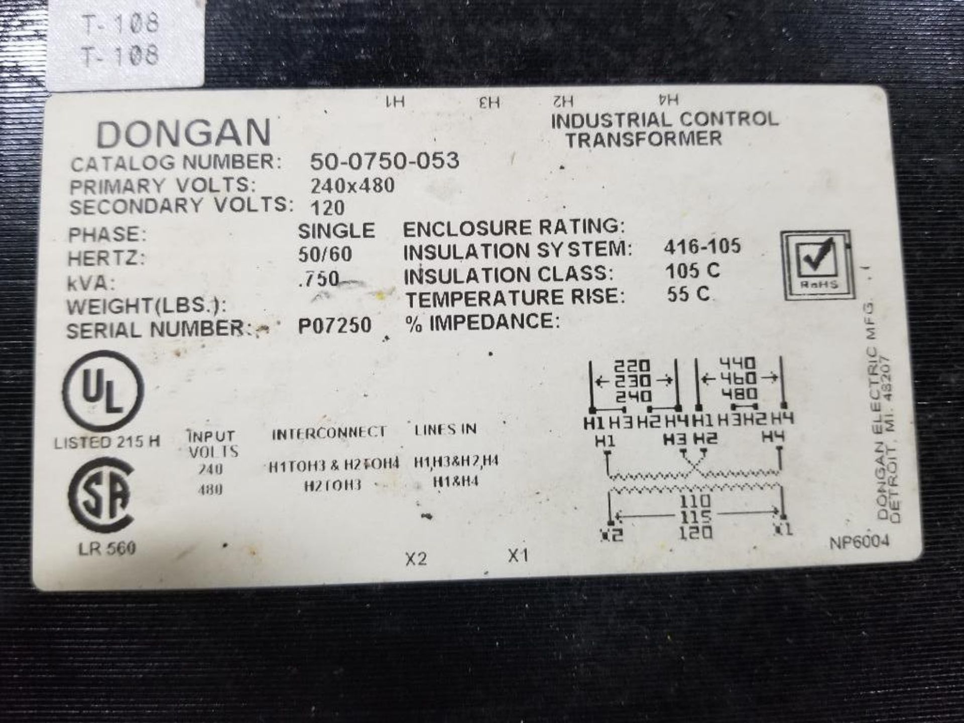 Dongan 50-0750-053 industrial control transformer. - Image 2 of 2