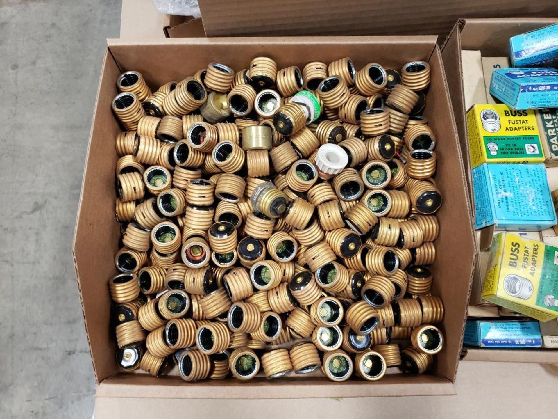 1/2 Pallet of assorted parts. Fuse adapters, plugs, switches. Pass & Seymour, Buss. - Image 2 of 7