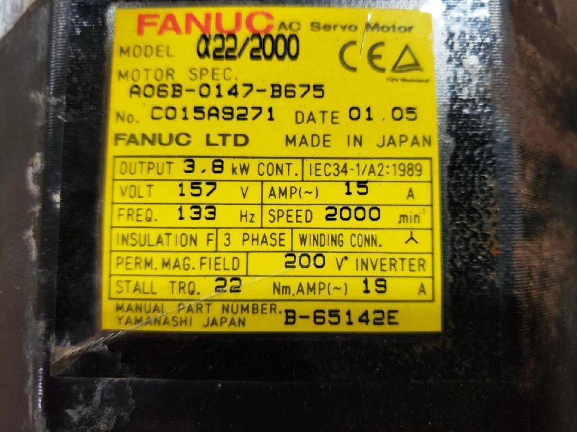 3.8kW GE Fanuc AC Servo Motor A06B-0147-B675. 157V, 2000RPM, 3PH. - Image 2 of 5