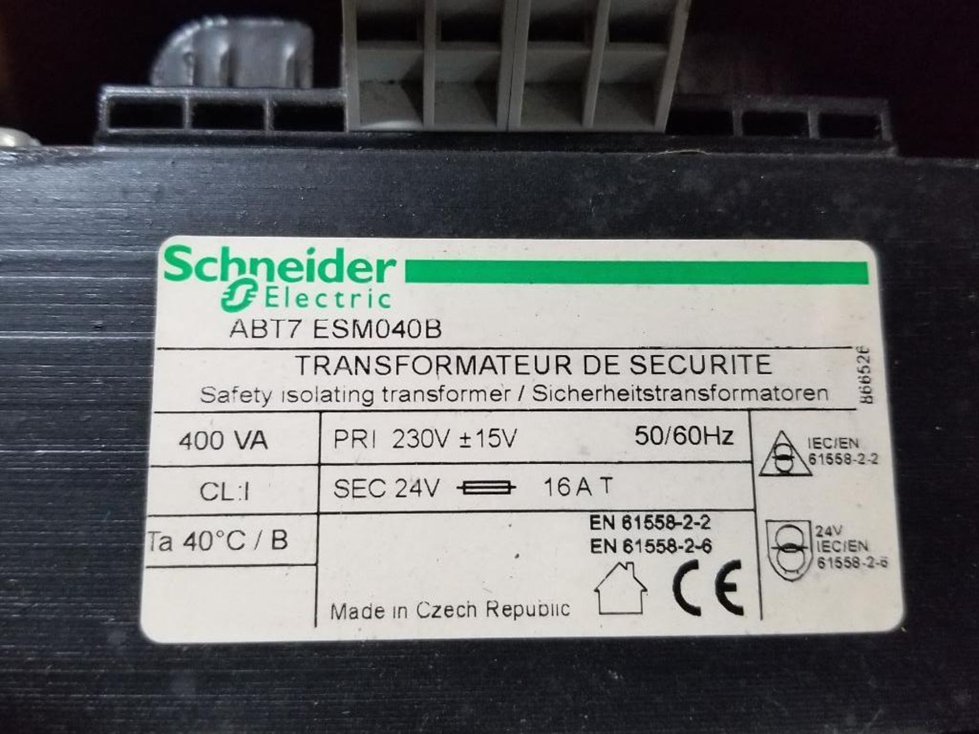 Qty 2 - Industrial transformer. Schneider ABT7-ESM040B, EGS E105. - Image 2 of 3