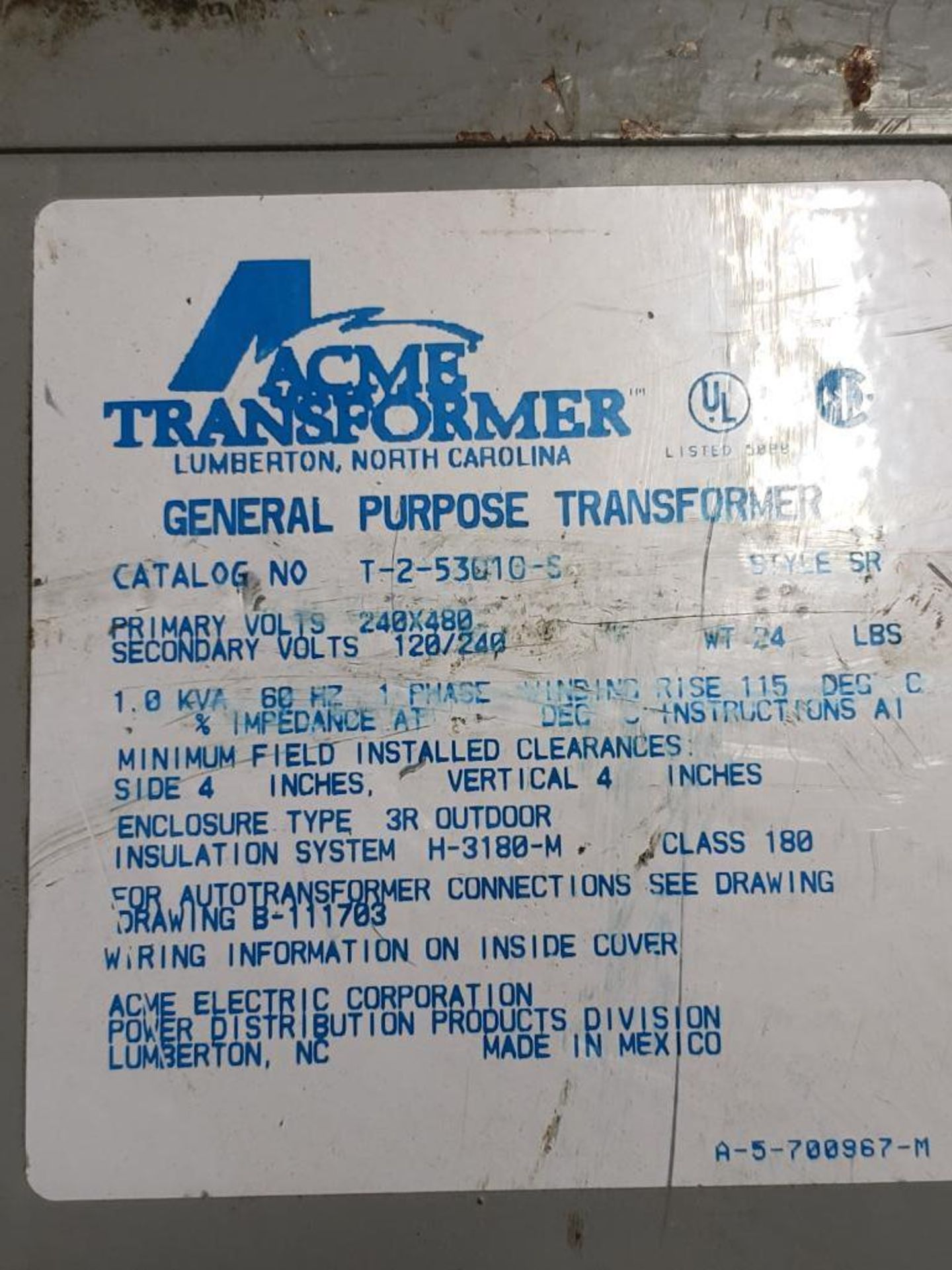 Qty 2 - ACME Transformer T-2-53010-S General purpose transformer. - Image 3 of 3