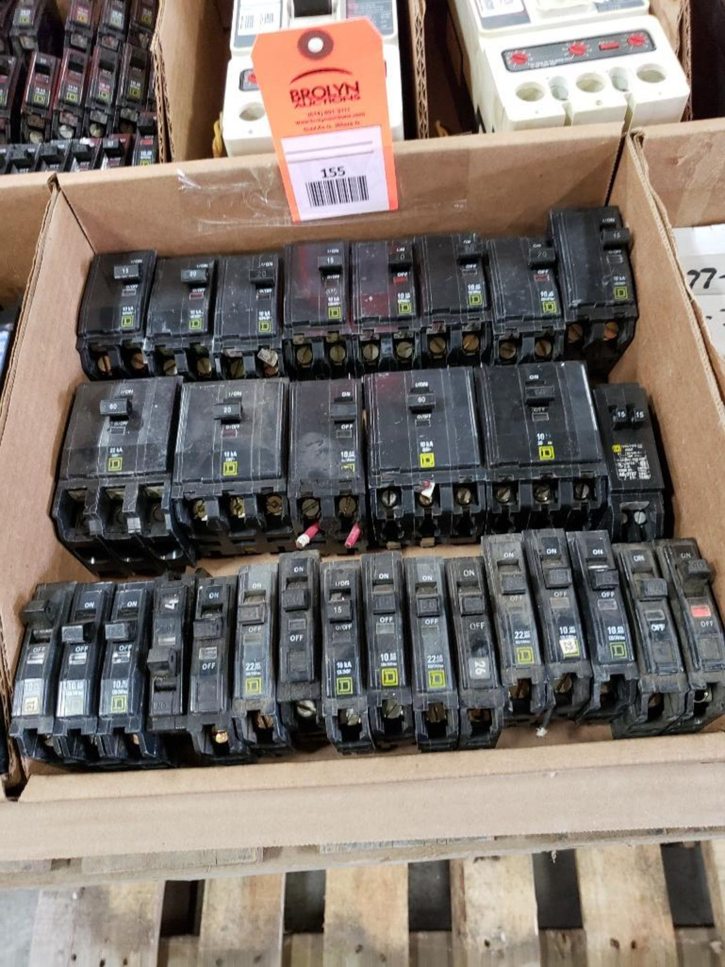 Assorted Square-D Breakers.