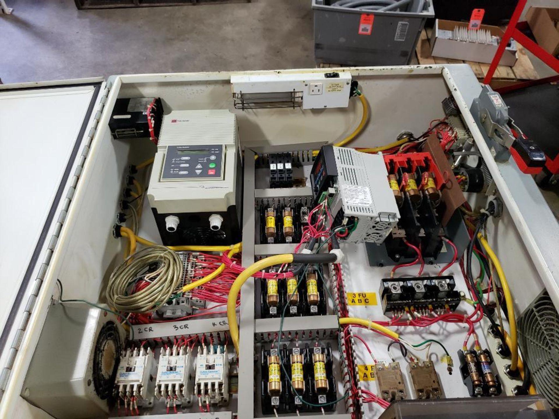Chiller control cabinet. Hoffman enclosure, Cutler Hammer AF93AG0B007D drive, Allen Bradley drive. - Image 14 of 35