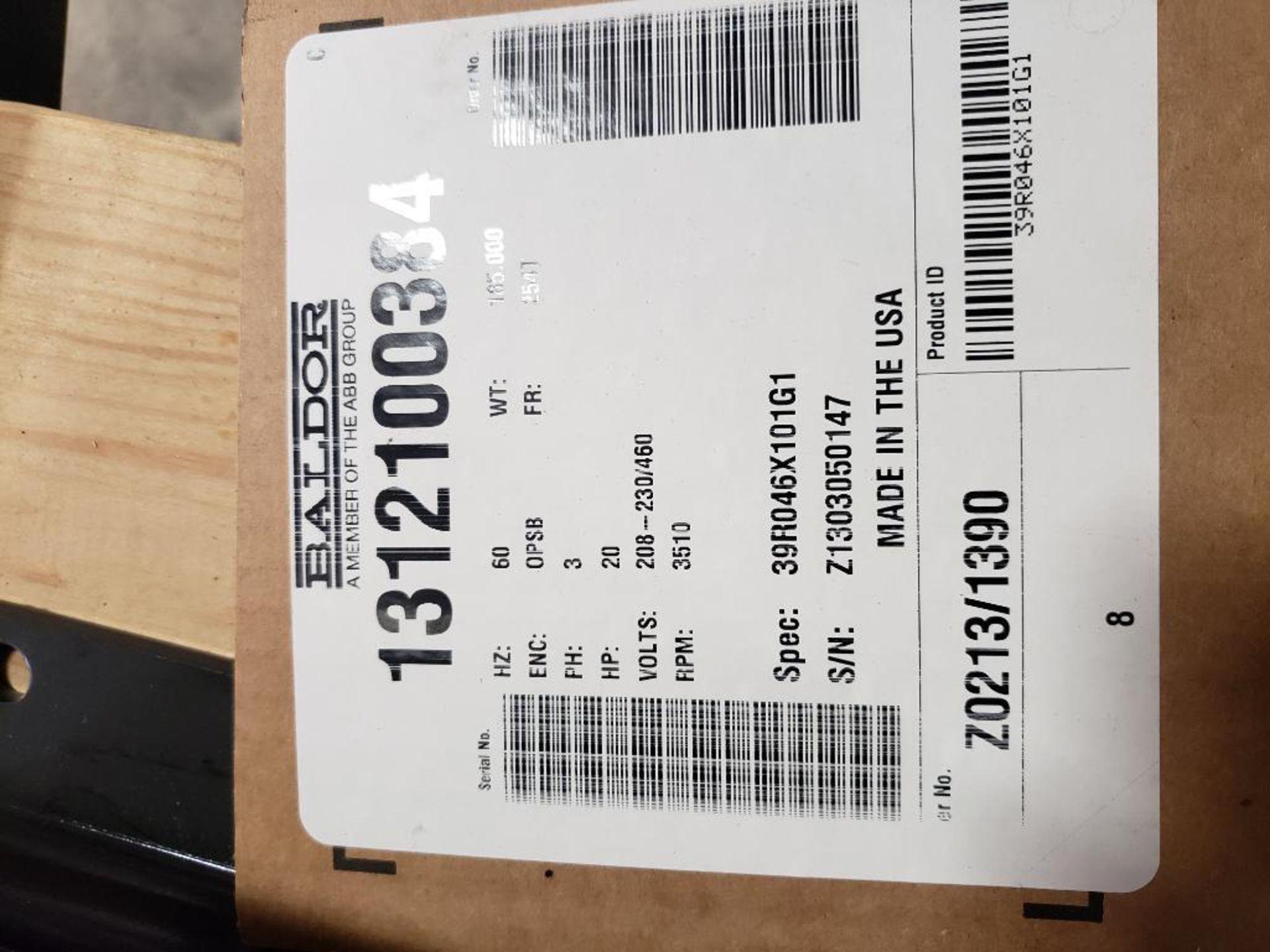 20HP Baldor Reliance 3PH SuperE Motor. 39R046X101G1. 208-230/460V, 3510RPM, 254T-Frame. - Image 3 of 7