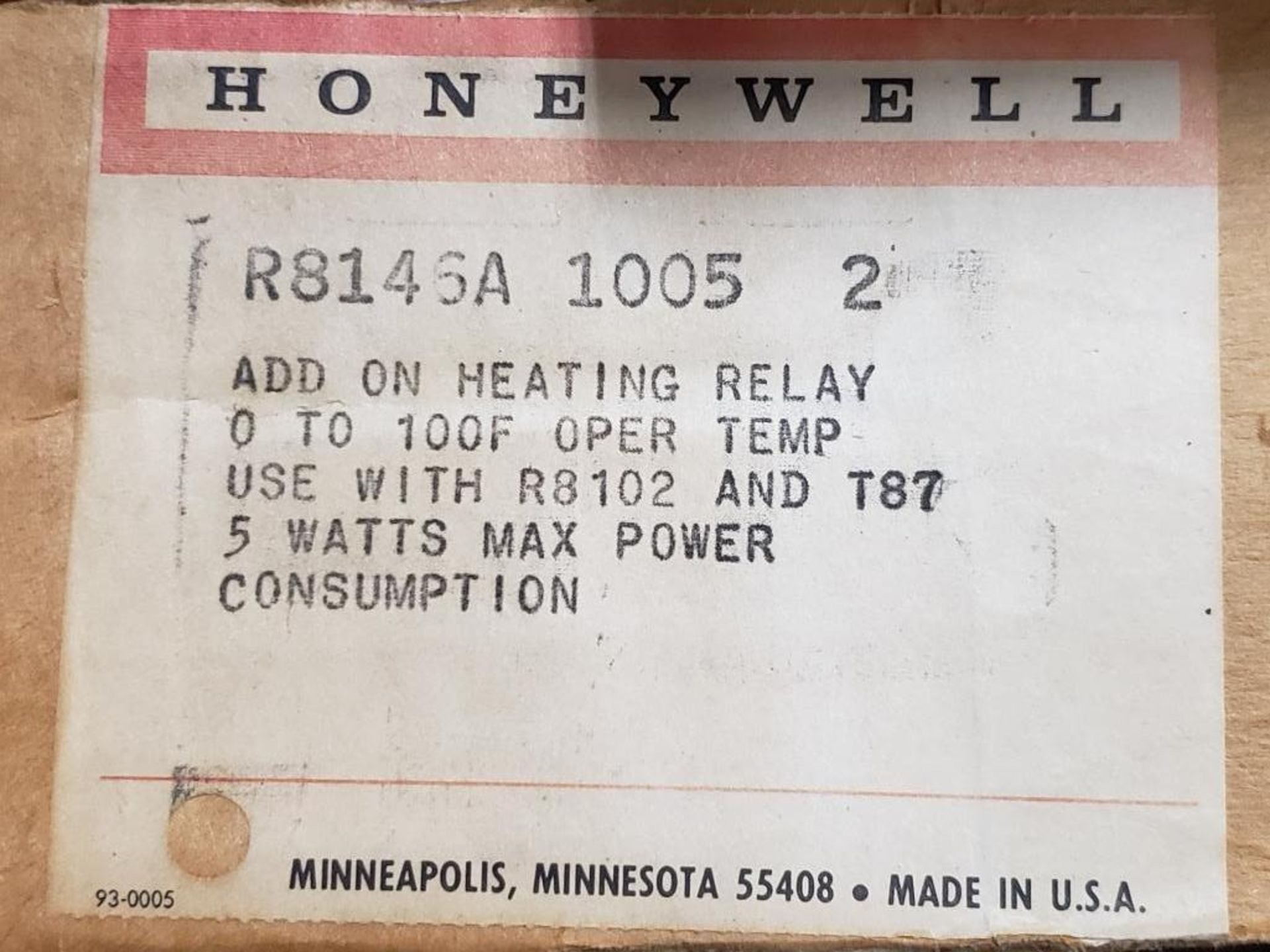 Qty 9 - Honeywell R8146A-1005-2 Add-On Heating relay. - Image 2 of 2
